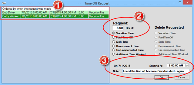 The time off request dialogue box